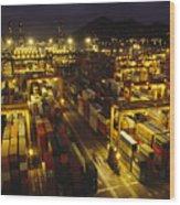 Hong Kong Container Terminal, One Wood Print