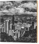 Hong Kong In Black And White Wood Print