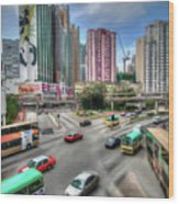Hong Kong Traffic Wood Print