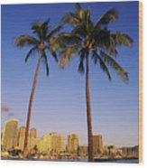 Honolulu And Palms Wood Print