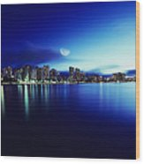 Honolulu At Night Wood Print