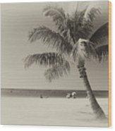 Honolulu Beach Wood Print