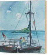 Honolulu Catamaran Wood Print