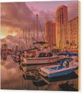 Honolulu Waterfront Oahu Wood Print