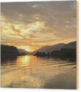 Hood River Golden Sunset Wood Print