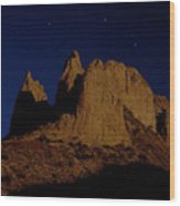 Hoodoos At Night Wood Print