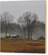 Hooker Road In The Fog 1 Wood Print
