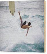 Hookipa Maui Flying Surfer Wood Print by Denis Dore