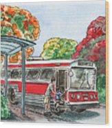 Hop On A Bus Wood Print
