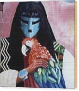 Hopi Dances And The Red Macaw Wood Print