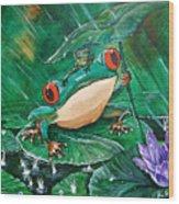 Hoppin' In The Rain Wood Print