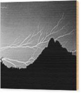 Horizonal Lightning Bw Wood Print