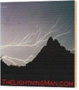 Horizonal Lightning Poster Wood Print
