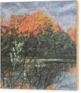 Horn Pond In Autumn Wood Print