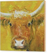 Horned Cow Painting Wood Print
