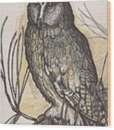 Horned Owl And Pine Wood Print