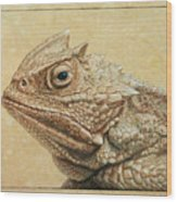 Horned Toad Wood Print by James W Johnson