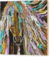 Horse Abstract Brown And Blue Wood Print