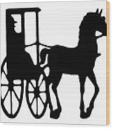 Horse And Buggy Vector Wood Print