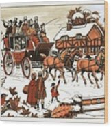 Horse And Carriage In The Snow Wood Print