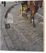 Horse And Carriage On Cobblestoned Alvarez Quintero Street In Th Wood Print