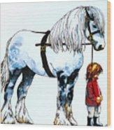 Horse And Groom Wood Print