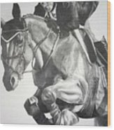 Horse And Jockey Wood Print