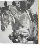 Horse And Jockey Wood Print