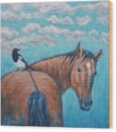 Horse And Magpie Wood Print