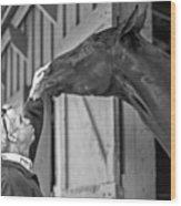 Horse And Man Wood Print