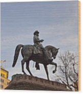 Horse And Rider Monument Wood Print
