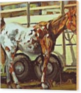 Horse And Trailer Wood Print