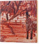 Horse And Tree Wood Print