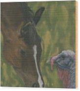Horse And Turkey Wood Print
