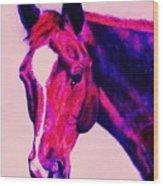 Horse Art Horse Portrait Maduro Deep Pink Wood Print