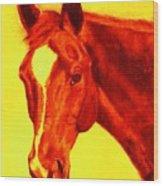Horse Art Horse Portrait Maduro Deep Yellow And Orange Wood Print