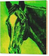 Horse Art Horse Portrait Maduro Green Black And Yellow Wood Print