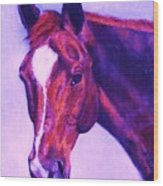 Horse Art Horse Portrait Maduro Pink And Purple Wood Print