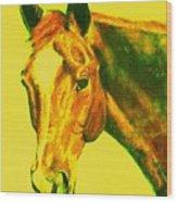 Horse Art Horse Portrait Maduro Yellow Wood Print