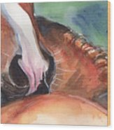 Horse Art In Watercolor Wood Print