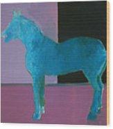 Horse, Blue On Lavender Wood Print