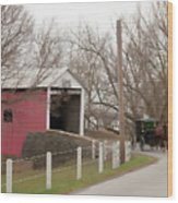 Horse Buggy And Covered Bridge Wood Print