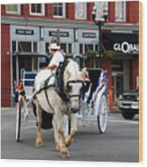 Horse Carriage In Nashville Wood Print