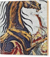 Horse Dances In Sea With Squid Wood Print