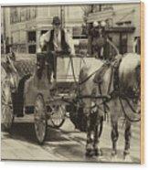 Horse Drawn Carriage Wood Print