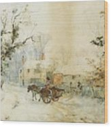 Horse Drawn Carriage In The Snow Wood Print