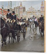 Horse Drawn Carriages And Women On Horseback Riding Sidesaddle O Wood Print