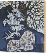 Horse Dreaming Below Trees Wood Print by Carol  Law Conklin