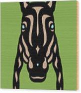 Horse Face Rick - Horse Pop Art - Greenery, Hazelnut, Island Paradise Blue Wood Print