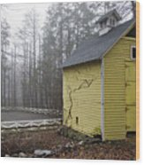 Horse Farm In Fog Wood Print